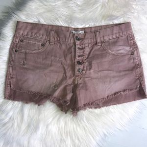 FREE PEOPLE - Distressed Jean Shorts Size 28